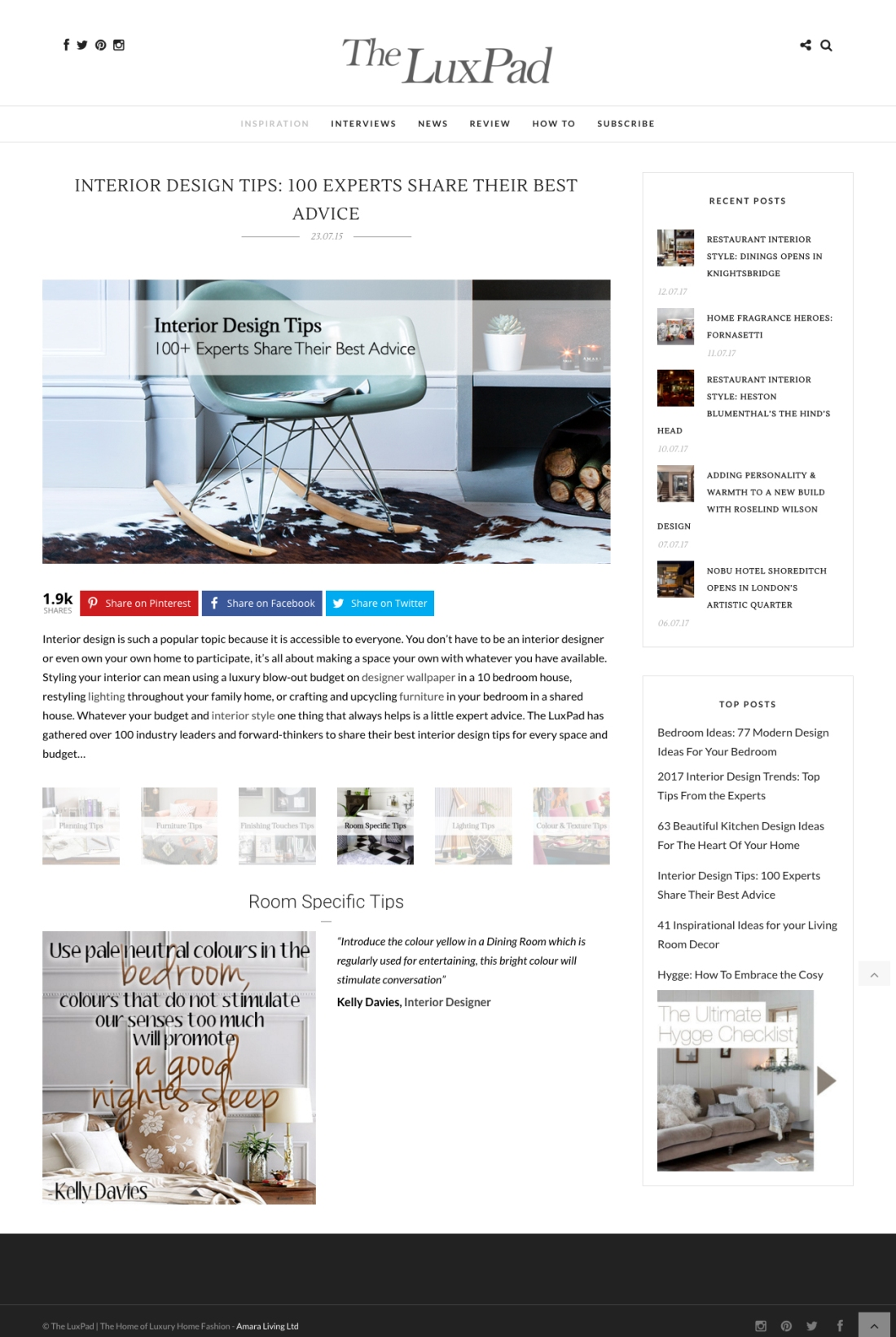 Interior Design Tips 100 Experts Share Their Best Advice FINAL